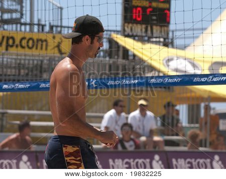 HUNTINGTON BEACH, CA. - MAY 23: Todd Rogers at the AVP Huntington Beach Open south of the pier on the weekend of the 22nd -24th in Huntington Beach, California May 23rd 2009