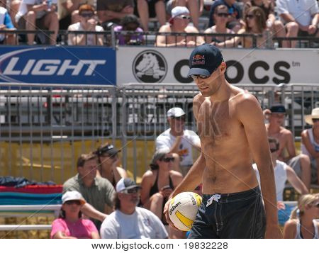 HUNTINGTON BEACH, CA. - MAY 23: Phil Dalhausser at the AVP Huntington Beach Open south of the pier on the weekend of the 22nd -24th in Huntington Beach, California May 23rd 2009