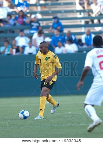 CARSON, CA. - JULY 3: Concacaf Gold Cup soccer match, Canada vs. Jamaica at the Home Depot center in Carson. Rodolph Austin about to pass the ball on July 3, 2009.