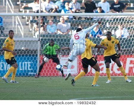 CARSON, CA. - JULY 3: Concacaf Gold Cup soccer match, Canada vs. Jamaica at the Home Depot center in Carson. Julian de Guzman taking a shot on goal on July 3, 2009.