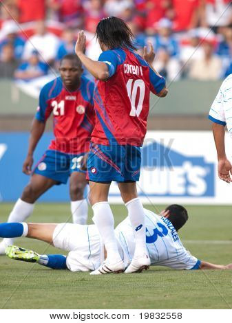 CARSON, CA. - JULY 3: Concacaf Gold Cup soccer match, Costa Rica vs. El Salvador at the Home Depot center in Carson. Walter Centeno saying there was no foul on Marvin Gonzalez on July 3, 2009.