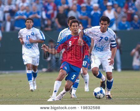 CARSON, CA. - JULY 3: Concacaf Gold Cup soccer match, Costa Rica vs. El Salvador at the Home Depot center in Carson. Ramon Sanchez and Celso Borges fighting for the ball on July 3, 2009.