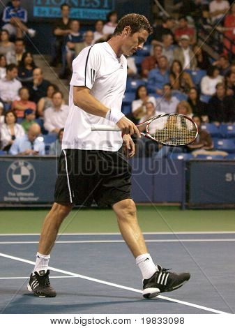 LOS ANGELES, CA. - JULY 27: Pete Sampras and Marat Safin (pictured) play an exhibition match at the L.A. Tennis Open on July 27, 2009 in Los Angeles, CA.