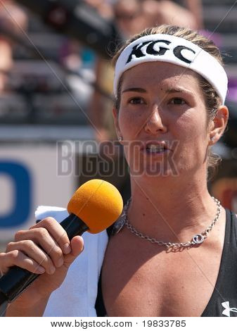 HERMOSA BEACH, CA. - AUGUST 8: Nicole Branagh giving a speach after winning the womens final of the AVP Hermosa Beach Open. August 8, 2009 in Hermosa Beach.