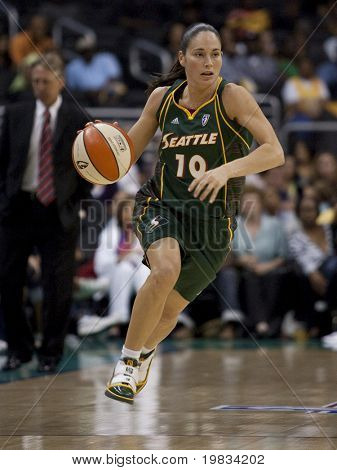 LOS ANGELES, CA. - SEPTEMBER 16: Sue Bird dribbles the ball up court during the WNBA playoff game of the Sparks vs. Storm on September 16, 2009 in Los Angeles.