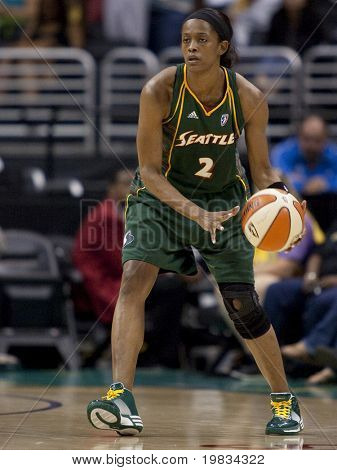 LOS ANGELES, CA. - SEPTEMBER 16: Swin Cash in action during the WNBA playoff game of the Sparks vs. Storm on September 16, 2009 in Los Angeles.