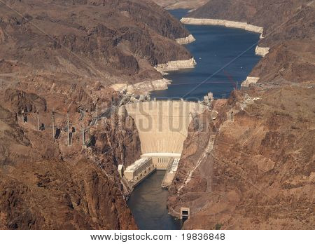 CLARK COUNTY, NV. - APRIL 09: The Hoover Dam when completed in 1939 was the world's largest hydroelectric power generating station & largest concrete structure. Taken 4/9/07 over Clark County, NV.