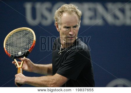 LOS ANGELES, CA. - JULY 24:  Andre Agassi and John McEnroe play a charity match at the Farmers Classic on July 24 2010 in Los Angeles.