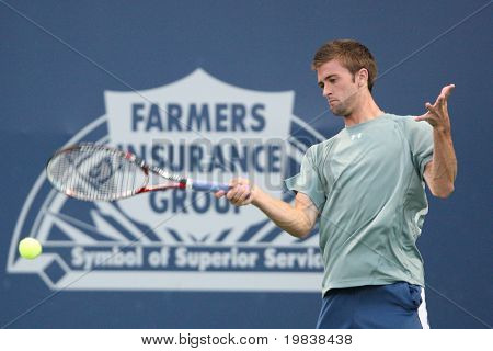 LOS ANGELES, CA. - JULY 29: [1] [WC] Andy Murray of Great Britian and [Q] Tim Smyczek of USA (pictured) play a match at  the 2010 Farmers Classic on July 29 2010 in Los Angeles.