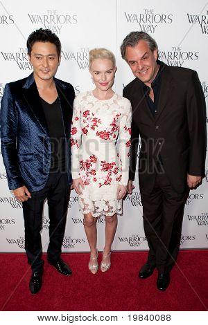 LOS ANGELES. - NOVEMBER 19:  (L-R) Jang Dong-gun, Kate Bosworth, and Danny Huston attend the special screening of The Warriors Way on November 19, 2010 at  CGV Cinemas in Los Angeles, CA.