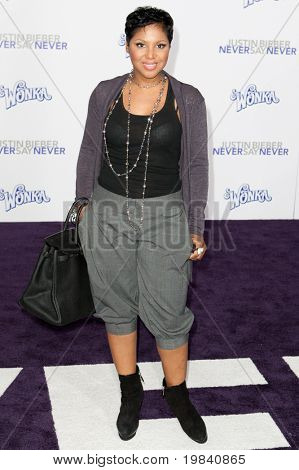 LOS ANGELES, CA - FEB 8: Singer Toni Braxton arrives at the Paramount Pictures Justin Bieber: Never Say Never premiere at Nokia Theater L.A. Live on February 8, 2011 in Los Angeles, California.