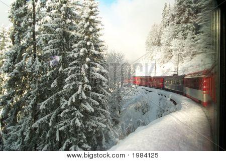 Swiss Train In Engadine