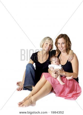 Grandmother And Her Daughter And New Granddaughter