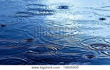 Raindrops on the water surface