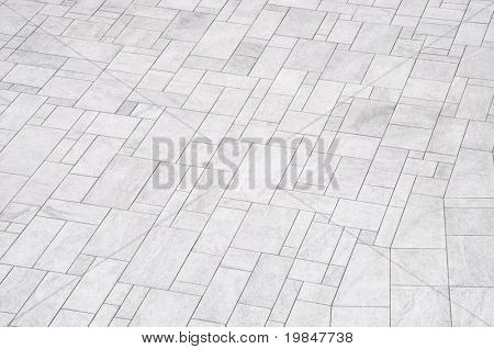 White paved floor