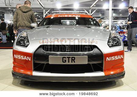 LONDON, UK - NOVEMBER 7: A Nissan GTR safety car at the MPH motorshow, November 7, 2010 in London, United Kingdom