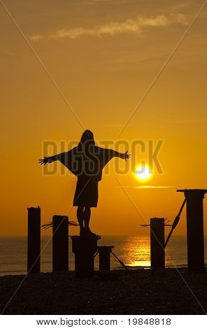 Young woman standing on a pole at sunset