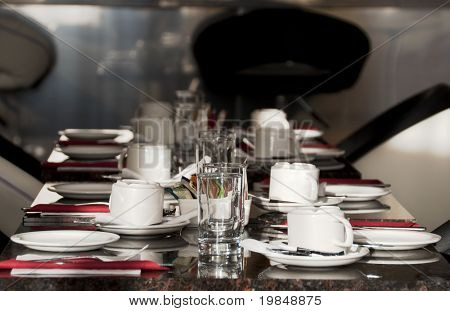 A table set for breakfast in a hotel