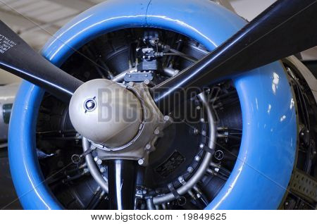 Propeller and engine of a vintage military airplane