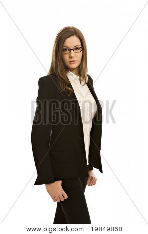 Stylish woman in a blazer, wearing glasses