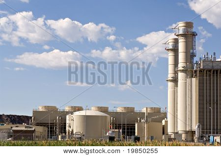 Industrial electrical power plant at the edge of a marsh