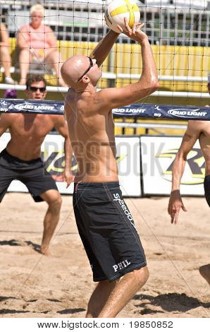 GLENDALE, AZ - SEPTEMBER 27: Olympic gold medalist Phil Dalhausser competes at the AVP Best of the Beach volleyball tournament in Glendale, Arizona.