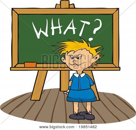 student at the chalkboard - what?