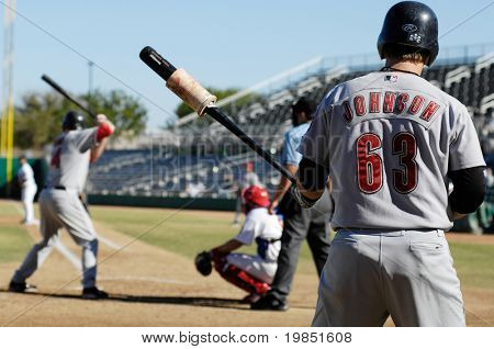 MESA, AZ - NOV 20: Chris Johnson of the Scottsdale Scorpions waits as Mark Trumbo bats in the Arizona Fall League game with the Mesa Solar Sox on November 20, 2008 in Mesa, Arizona.