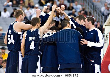 GLENDALE, AZ - DECEMBER 20: The Brigham Young University basketball team huddles before their game with Arizona State University on December 20, 2008 in Glendale, Arizona