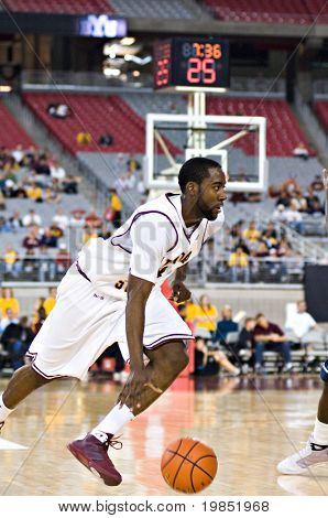GLENDALE, AZ - DECEMBER 20: Arizona State University guard James Harden #13 dribbles to the basket during the basketball game against Brigham Young on December 20, 2008 in Glendale, Arizona.