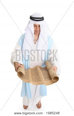 Biblical Man Or Scribe Reading Holy Torah Scroll