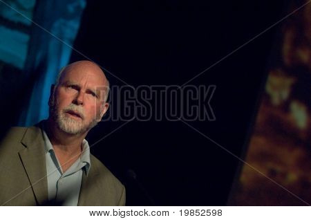 TEMPE, AZ - APRIL 6: Dr. J Craig Venter, founder of Celera Genomics and first to sequence the human genome, addresses the Origins Symposium at Arizona State University on April 6, 2009 in Tempe, AZ.