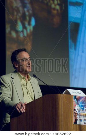 TEMPE, AZ - APRIL 6: Ira Flatow, host of the National Public Radio (NPR) program Science Friday, addresses the Origins Symposium at Arizona State University on April 6, 2009 in Tempe, AZ.