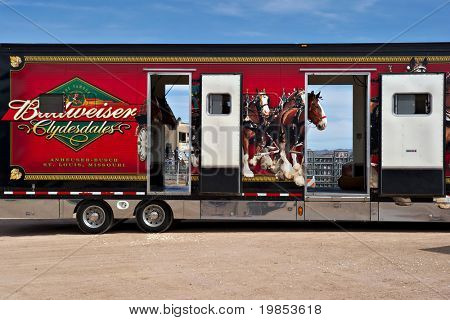 APACHE JUNCTION, AZ - FEBRUARY 26: Truck carrying the Budweiser Clydesdale horses arrives at the Lost Dutchman Days rodeo on February 26, 2010 in Apache Junction, Arizona.