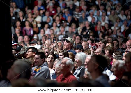 MESA, AZ - MARCH 27: Supporters of Arizona Senator John McCain attend a re-election rally featuring Sarah Palin on March 27, 2010 in Mesa, AZ.