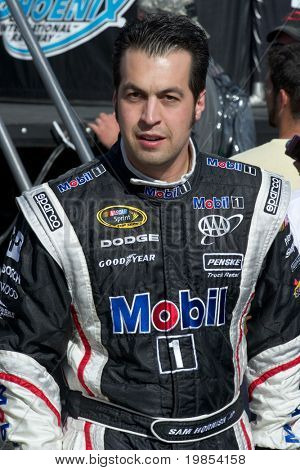 AVONDALE, AZ - APRIL 10: NASCAR driver Sam Hornish Jr. makes an appearance before the start of the Subway Fresh Fit 600 on April 10, 2010 in Avondale, AZ.
