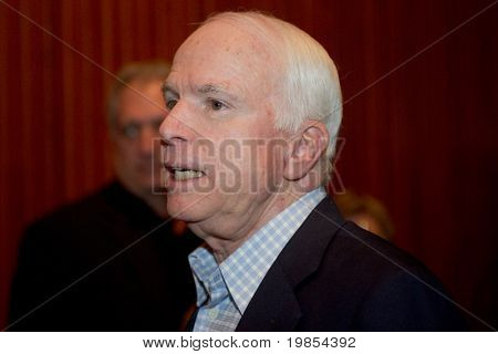 MESA, AZ - JUNE 4: Senator John McCain (R - AZ) appears at a town hall meeting on June 4, 2010 in Mesa, Arizona.