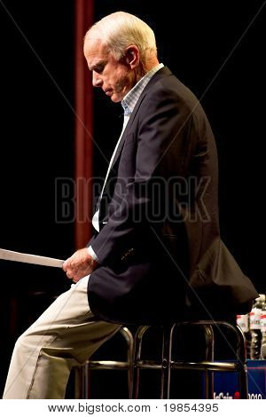 MESA, AZ - JUNE 4: Senator John McCain appears at a town hall meeting on June 4, 2010 in Mesa, Arizona.