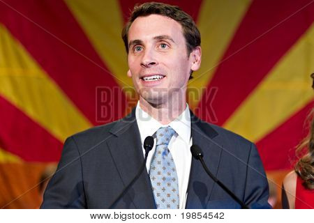 PHOENIX, AZ - NOVEMBER 2: Congressman Ben Quayle, son of former Vice President Dan Quayle, celebrates victory in his 2010 election campaign on November 2, 2010 in Phoenix, Arizona.