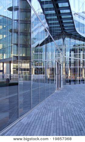 Modern glass office entrance.