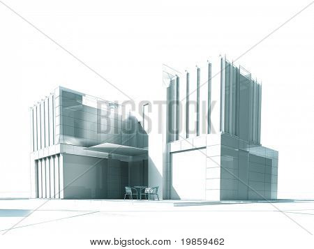 3D rendering of a white modern building with outdoors furniture