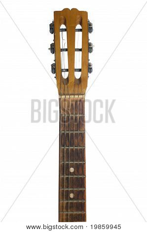 An acoustic guitars headstock including tuning pegs