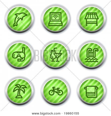 Vacation web icons, green glossy circle buttons