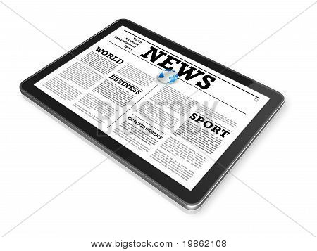 News On A Digital Tablet Pc Computer
