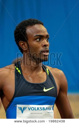 VIENNA, AUSTRIA - FEBRUARY 3, 2009: International indoor track and field meeting in Vienna: Jamaal Torrance, USA wins the men's 400m sprint event.