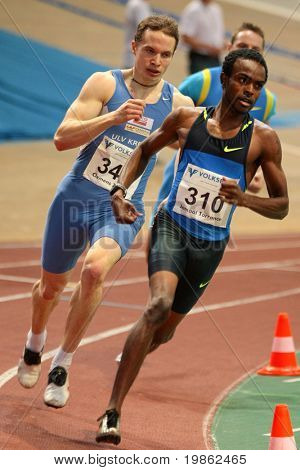 VIENNA, AUSTRIA - FEBRUARY 3: Jamaal Torrance (right) of USA wins the men's 400m sprint event at the International indoor track and field meeting in Vienna on Feb. 3, 2009.