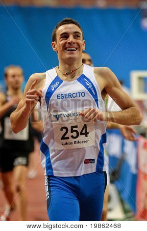 VIENNA, AUSTRIA - FEBRUARY 3: Lukas Rifesser of Italy won the men's 800m running competition at the International indoor track and field meeting in Vienna on Feb. 3, 2009.