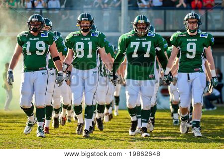 KORNEUBURG, AUSTRIA - April 4: Austrian Football League:  The Danube Dragon lose 35:52 against the Swarco Raiders on April 4, 2009 in Korneuburg, Austria.