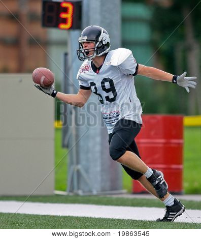 VIENNA,  AUSTRIA - JULY 4: Austrian Football League - Iron Bowl II: WR  Raphale Valenta (#89, Knights) and his team lose 20:26 to the LA Titans on July 4, 2009 in Vienna, Austria.
