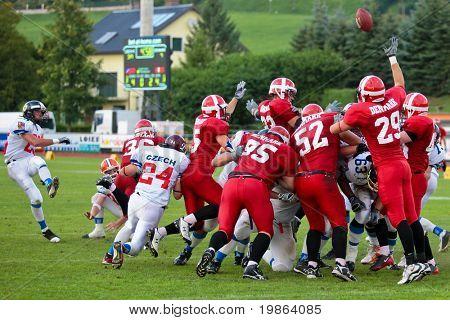 WOLFSBERG, AUSTRIA - AUGUST 18 American Football B-EC: Kicker Michal Srb (#25, Czech) and his team beat Denmark 30:15 on August 18, 2009 in Wolfsberg, Austria.